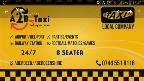 A 2 B My Taxi - 8 SEAT MINIBUS AVAILABLE - Aberdeen