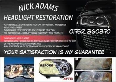Nick Adams Headlight Restoration - Vehicle Service in Plymouth